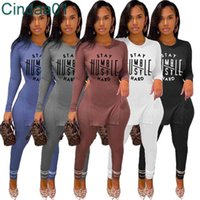 Women Tracksuits Rib Two Piece Set Designer Pink Color Outfits Casual Knit Letter Printed T Shirt Solid Long Sleeve Pants Fall Clothes