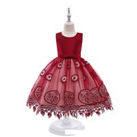 Girl's Dresses Baby Girls Dress Clothes Kids Clothing Flower Child Princess Lace Skirt Fluffy Children Wedding Party Formal B6672