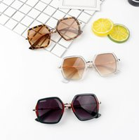 패션 키즈 다각형 선글라스 소녀 표범 인쇄 된 사각형 프레임 UV 400 태양 안경 소년 비치 그늘 어린이 사이클링 액세서리 A6151