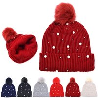 Pearl wool hat autumn and winter outdoor sports warm knitted hat