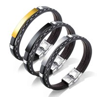 2021 new trend punk style stainls steel smooth leather bracelet multi layer Braided Bracelet accsori