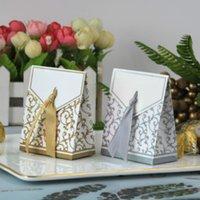 NUOVO 10 PZ Creativo Golden Silver Ribbon Bomboniere Bomboniere Regalo Partito Caramella Cabina di carta Cookie Caramelle Regalo Borse Evento Forniture per feste Evento Ood5520
