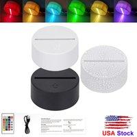 Estados Unidos USB Toque em Cabo Toque 3D LED Titular da Luz Base para substituição de luz da noite 7Color colorido Bases de luz Base LED