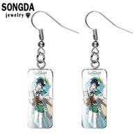 Songda Anime Genshin Schlag rechteckige Ohrringe Anime Figur Gedruckt Glas Edelstein Gesicht Fischhaken Ohrringe Geschenk für Frau Schmuck y0901