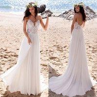 2021 Playa de verano Boho Vestidos de novia Sexy Backless Spaghetti Straps Chiffon Lace Top Bohemian Bohemian Vestidos de novia Robes de Mariée