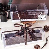 Gift Wrap 2pcs lot Transparent Cake Box With Handle Cupcake Swiss Clear Plastic Portable PET Packing Wedding Roll Long