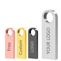 Metal USB Flash Drives PenDrive 4GB 8GB 16GB Pen drive 32GB 64GB Memory Stick 128GB USB2.0 Stick Gift Free Customized LOGO