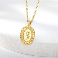 قلادة القلائد الكلاسيكية الشكل البيضاوي روز nekclace للنساء الرجال خمر لوحة بيان الذهب الأزهار المقاوم للصدأ مجوهرات