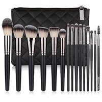 15 pcs makeup brushes set synthetic hair black professional tricolor pile silver flash cosmetic beauty tools wood handle loose powder brush super quality