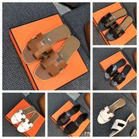 Designer mulheres sandálias senhoras luxo luxo couro genuíno h chinelos sapato liso oran festa de sandália sapatos com caixa