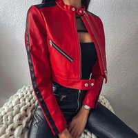 Women's Leather & Faux Motorcycle Jacket Women 2021 Autumn Zipper Soft Short Ladies Basic Street Coat Black Red