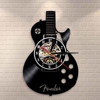 Instrument d'art de guitare acoustique Accueil Décor intérieur Vinyle Enregistrement mural Horloge Rock n Roll Cadeau musical 210309