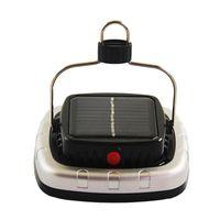 Linternas portátiles COB Solar LED Tienda de campaña Lámpara de camping USB Batería recargable Negro