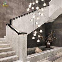 Modern Avize Kristalleri Işık Büyük Merdiven Asılı Kolye Işıkları LED Cristal Avize Ev Otel Dekorasyon Için Aydınlatma Lambaları