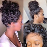 Lace Wigs Glueless Full Human Hair Remy Kinky Curly Front Wig 360 Deep