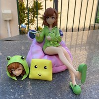 Cartoon Misaka Mikoto Ability Cannon Sister Frog Dress Change Head Sitting Posture Boxed Figure Model Decoration Toy Gift