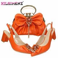 드레스 신발 특별 한 디자인 이탈리아 여성 Shooos 일치하는 가방 주황색 사무실 레이디 및 작업을 위해 설정