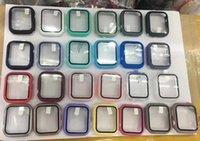 Caja fuerte protectora con protector de pantalla de película de vidrio templado para la serie de relojes de Apple 4/5 40mm / 44mm SmartWatch Parachoques de cubierta completa