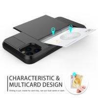Кошелек чехол слайд Карты брони Оболочка защита телефона Чехол для iPhone 12 11 Pro XS XR Pro Max 7 8 Plus для Samsung
