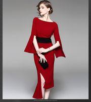 Early fall 2021 New irregular dress waist slim temperament red mid-length skirt women's banquet dress