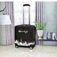 Bavullar 18 '' Haddeleme Bagaj Kabin Tahliye Çantası Seyahat Çocuklar için Trolly Çanta
