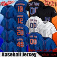 12 프란시스코 Lindor Pete Alonso Jacob Degom Jerseys 새로운 마이클 컨설턴트 야구 유니폼 요크 도미노 스미스 마이크 Piazza Jersey Gimenez 5 월