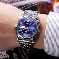 Stainless Steel Luminous Day Date Watches Mens Waterproof Clock Casual Sports Quartz Men Wrist Watch With Box Montre Homme