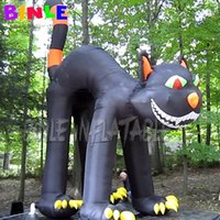Custom made outdoor large inflatable moggy halloween decoration inflatables black cat for sale