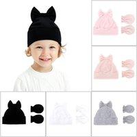 Baby Knit Crochet Beanie Hat With Bow And Gloves Set Boy Girl Cotton Newborn Winter Warm Caps Mitten Outdoor Child Headwear