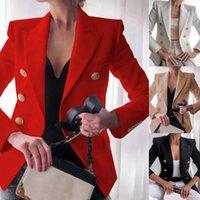 Women's Suits & Blazers Women 2021 Fashion Office Wear Single Breasted Coat Vintage Long Sleeve Pockets Female Outerwear Tops Jacket Vestido