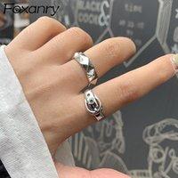 Foxanry Vintage Punk 925 Стерлинговые серебряные кольца Ins Мода Простой пояс Геометрический день рождения Ювелирные Изделия Подарки для женщин Пары