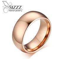 Trouwringen 2021 Topkwaliteit Tungsten Engagement Mannen Ring Sieraden 8.0mm Anel Rose Gold Color