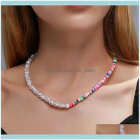 Chains & Pendants Jewelrychains Colorful Rice Beads Imitation Pearls Necklace For Women Gold Sier Color Fish Line Necklaces Female Fashion J
