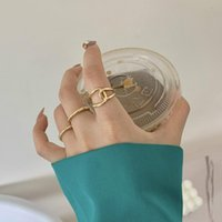 Vintage Punk Gold Wide Chain Rings Set For Women Girls Fashion Irregular Finger Thin Rings Gift Female Jewelry Party Gifts