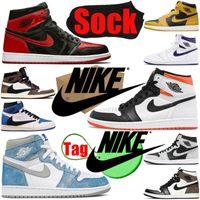 Nike Air Jordan Retro 1 1S Boxsocktag Mens Basketball Chaussures Travis Scott Jumpman Bred Patent Electro Orange Pollen Fragment Hommes Femmes Formatrices Sports Sneakers