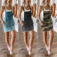 2021 Tiktok Yaz Bayan Denim Etek Retro Kısa Askı Etekler Kayış Mini Sıkı Elbise Kamuflaj ABD Bayrağı Baskı Tulum Elbiseler G6922CB