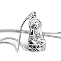 Китайский стиль женские модели 925 стерлинговые серебряные ожерелья религиозные подвески дизайн сплошные серебряные ключицы ожерелье шарм ювелирные изделия