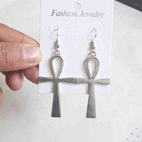 Egiziano Big Ankh Cross Dangle Danning Orecchini per le donne vintage dichiarazione di moda gioielli minimalista goth gotico goth accrsioni