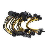Computerkabel-Anschlüsse 10Pcs Dual 15pin SATA zu PCI-E 8PIN (6Pin + 2Pin) IDEO-Karten-Netzteil-Adapterkabel W8ED