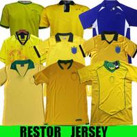 Retro Brasil 2002 2004 1994 1994 1982 1982 1998 1957 رونالدينيو الرجعية لكرة القدم الفانيلة Romario Ronaldo البرازيل Rivaldo Camisa de Futbol Shirt