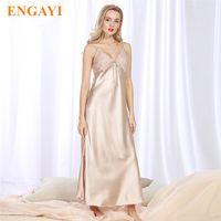 Engayi 브랜드 긴 여성 여름 드레스 플러스 사이즈 섹시한 레이스 나이트 가운 실크 새틴 나이트 드레스 야간 가운 Nightwear CQ311 Q190513