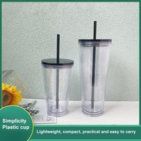 Mugs Transparent Cup With Straw Plastic Double-layer Reusable Water Bottle Durable Tumbler Outdoor Tea Fruit Coffee Mug Drinkware