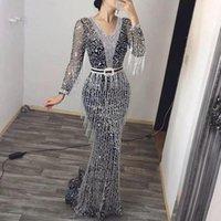 Casual Dresses 2021 Elegant V-neck Chiffon Midi Dress For Women Long Sleeve Sequined Fringed Slim Party Vestido
