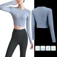 Women's T-Shirt Laamei Women Long Sleeve T-Shirts Sexy Exposed Navel Fitness Quick Dry Gym Sport Crop Tops Solid Sports Shirts Femme