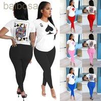 Женщины Cousssuit дизайнер покер Q Письмо Цифровая печать напечатанные 2 шт с короткими рукавами брюки набор повседневных видов спорта сплошной цвет женской одежды