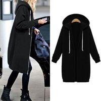 Women's Hoodies & Sweatshirts 2021 Autumn Winter Coat Casual Women Long Hooded Sweatshirt Jacket Black Outerwear Plus Size Zip Up Coats Fema
