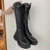 Fashion- Summer Knight Boots Net Retro College British Style Thick Bottom Heel Motorcycle Fashion