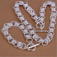 112g Ensemble de bijoux en argent sterling lourd GS19 de haute qualité Unisexe 925 collier plaqué argent bracelet bracelet Ensemble de vente en gros de la vente au détail