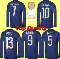 2021 남자 긴 소매 프랑스 축구 유니폼 le Sommer 헨리 카일리어 MBappe Antoine Griezmann Paul Pogba Giroud Zidane Kante Benzema 축구 키트