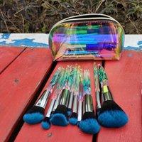 Amazon Hot Selling 10pcs Crystal Makeup Brushes Transparent Diamond Crystal Handle Makeup Brush Set